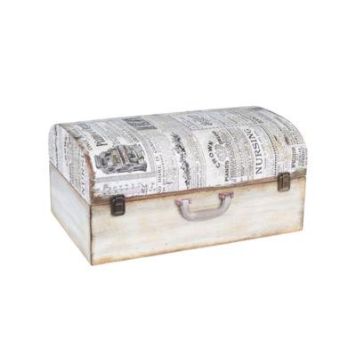 Household Essentials Large Vintage Newspaper Suitcase Trunk