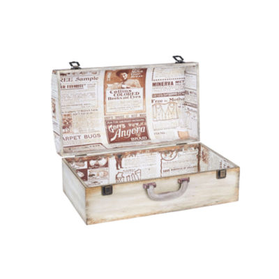 Household Essentials Small Vintage Newspaper Suitcase Trunk