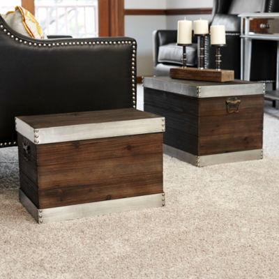 Household Essentials Small Silver Trim Wooden Storage Trunk