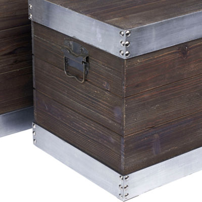 Household Essentials Small Silver Trim Wooden Storage Trunk
