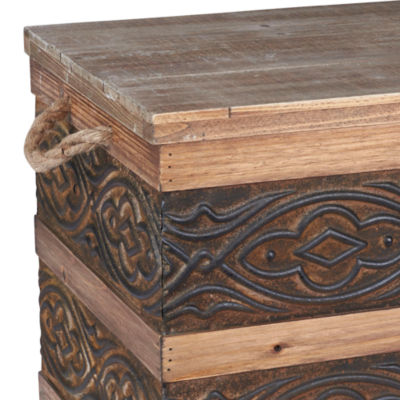 Household Essentials Small Metal Banded Wooden Trunk