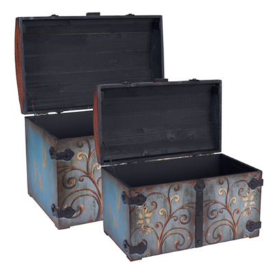 Household Essentials Domed Vintage Storage Chest 2 PC Set