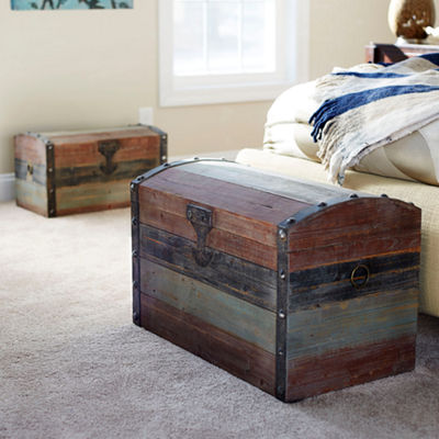 Household Essentials Large Weather Wooden Storage Trunk