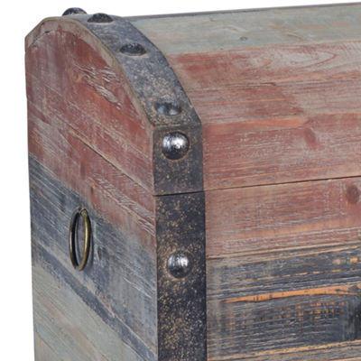 Household Essentials Small Weather Wooden Storage Trunk