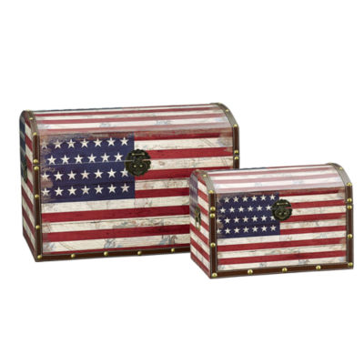 Household Essentials Vintage American Flag Decorative Storage Trunk 2 PC Set - Jumbo