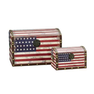 Household Essentials Vintage American Flag Decorative Storage Trunk 2 PC Set - Large