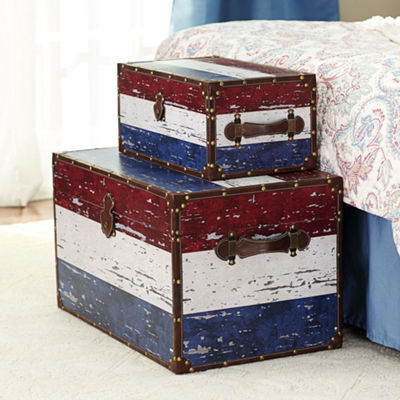 Household Essentials Red White & Blue Decorative Storage Trunk 2 PC Set - Jumbo