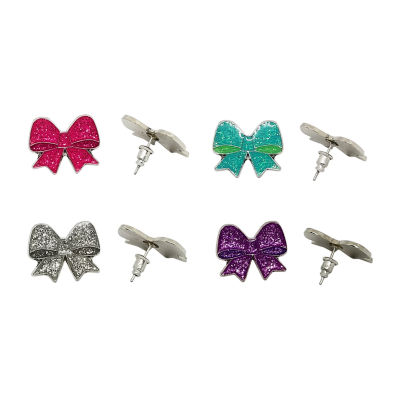 JoJo Siwa 4 Set Glitter Bow Stud Earrings