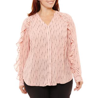 Worthington V-Neck Long Sleeve Woven Blouse-Plus