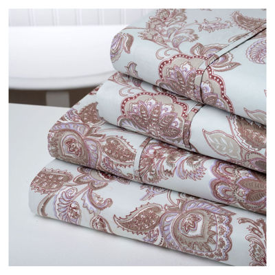 Bibb Home Soft Double Brushed Microfiber Printed Bed Sheets 4 Piece Set