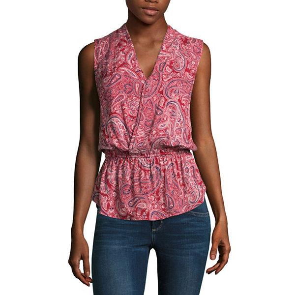 Liz claiborne sleeveless v neck wrap blouse jcpenney for Liz claiborne v neck t shirts