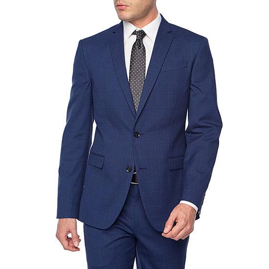 JF J.Ferrar-Big and Tall Plaid Classic Fit Stretch Suit Jacket