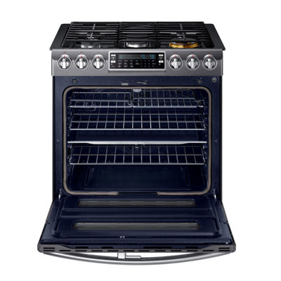 Samsung 5.8 cu. ft. Smart Wi-Fi Enabled Flex Duo™ With Dual Door Slide-In Double Oven Gas Range