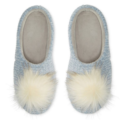 Mixit Chenille Pom Slip-On Slippers