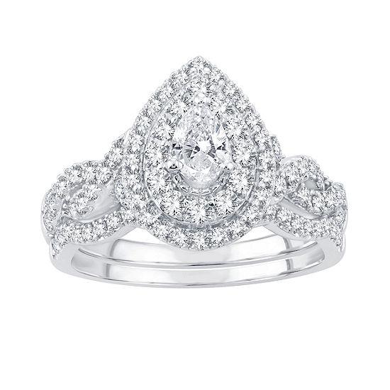 Womens 1 CT. T.W. Genuine White Diamond 14K White Gold Engagement Ring