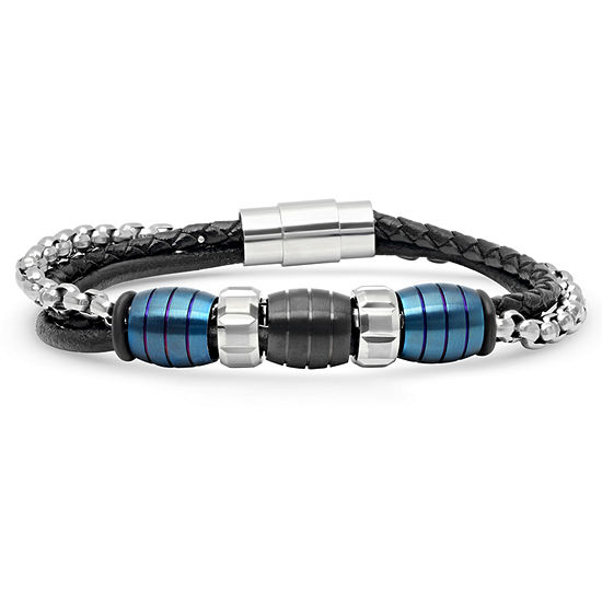 Minoxia Stainless Steel 8 1/2 Inch Semisolid Link Bracelet