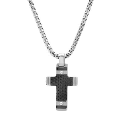 Minoxia Mens Stainless Steel Cross Pendant Necklace