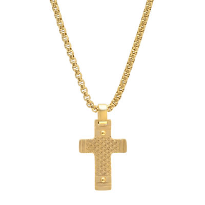 Minoxia Mens 18K Gold Over Stainless Steel Cross Pendant Necklace