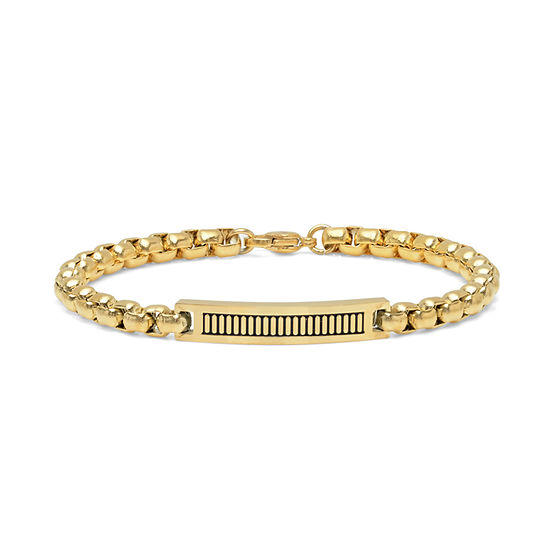 Minoxia 18K Gold Over Stainless Steel 8 Inch Link ID Bracelet