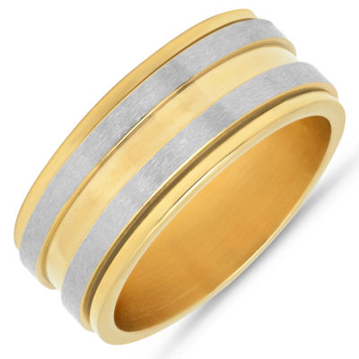 Minoxia Mens 10mm 18K Gold Over Stainless Steel Band