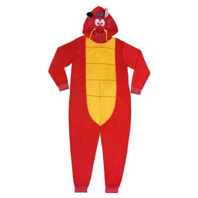 Disney Mens Fleece One Piece Pajama Long Sleeve Mulan