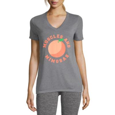 Xersion Graphic Tees Short Sleeve V Neck Pattern T-Shirt-Womens