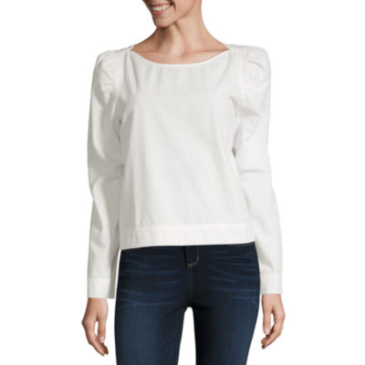 a.n.a Womens Round Neck Long Sleeve Woven Blouse