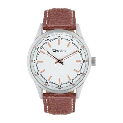 Westclox Mens Brown Strap Watch-51000