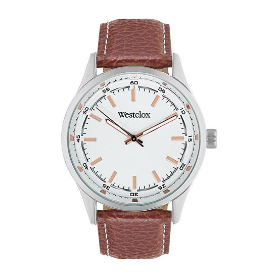 Westclox Mens Brown Leather Strap Watch-51000