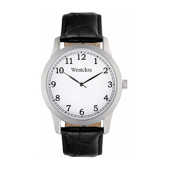 Westclox Mens Black Leather Strap Watch-51004