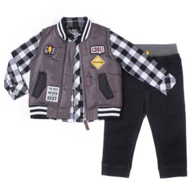 Little Lass 3-pc. Best Puffy Vest Pant Set -Baby Boys