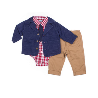 Little Lass 4-pc.Blazer French Terry Pant Set -Baby Boys
