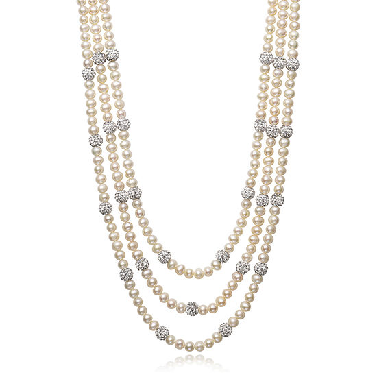 Womens Genuine White Cultured Freshwater Pearl Sterling Silver Strand Necklace