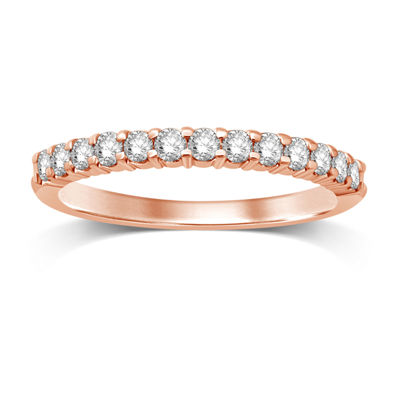 Womens 1/4 CT. T.W. Genuines White Diamond 14K Rose Gold Band