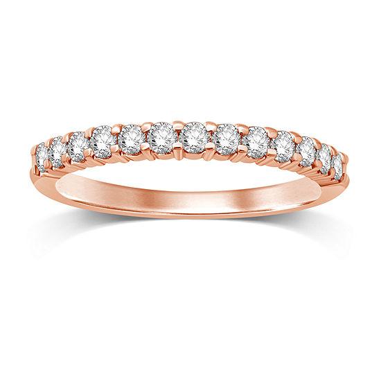 1/4 CT. T.W. Genuine White Diamond 14K Rose Gold Band