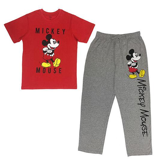 Disney Mens Pant Pajama Set 2 Pc Short Sleeve