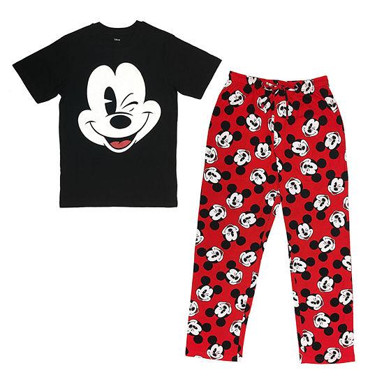 Disney Mens Short Sleeve 2 Pcpant Pajama Set