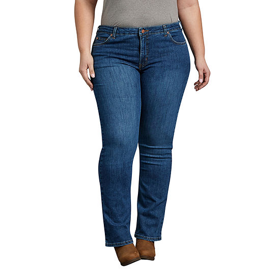 Dickies-Plus Perfect Shape Womens Mid Rise Curvy Fit Stretch Bootcut Jean