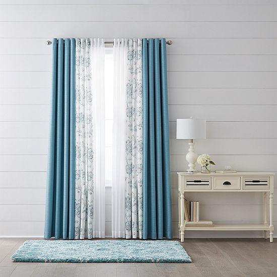 Liz Claiborne Quinn Jacobean Light-Filtering Grommet-Top Single Curtain Panel