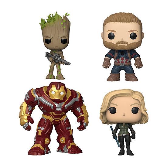 "Funko Pop! Marvel Avengers Infinity War Collectors Set 2 - Groot W/Blaster Captain America Black Widow & 6"" Hulk Buster"