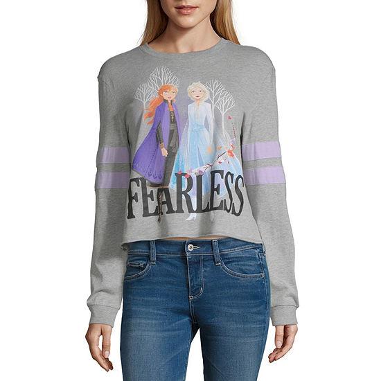 Womens Crew Neck Long Sleeve Frozen T-Shirt - Juniors
