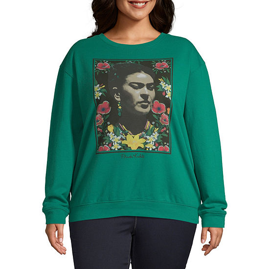 Juniors Plus Womens Crew Neck Long Sleeve Sweatshirt