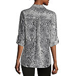 by&by-Juniors Womens Long Sleeve Blouse