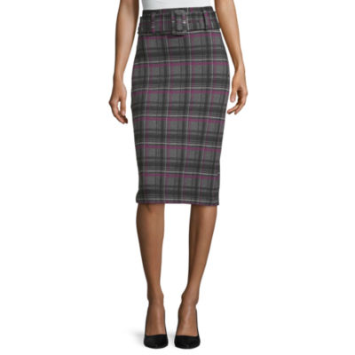 Worthington Womens Ponte Belted Pencil Skirt
