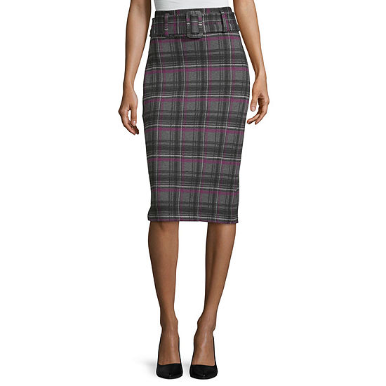 Worthington Womens Ponte Belted Pencil Skirt