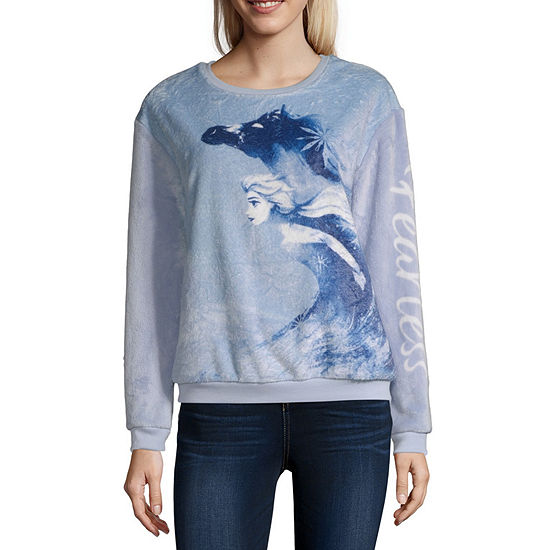 Juniors Womens Crew Neck Long Sleeve Frozen Sweatshirt