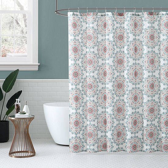 Peach And Oak Medallion Shower Curtain