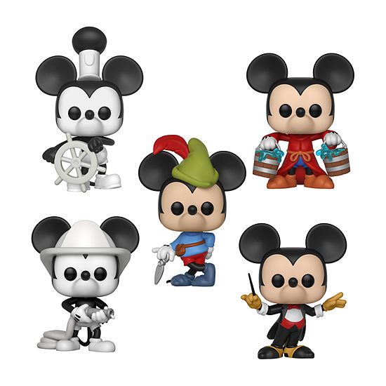 Funko Pop! Disney Mickey'S 90th Anniversary Collectors Set - Steamboat Willie Apprentice Mickey Firefighter Mickey Conductor Mickey Brave Little Tailor