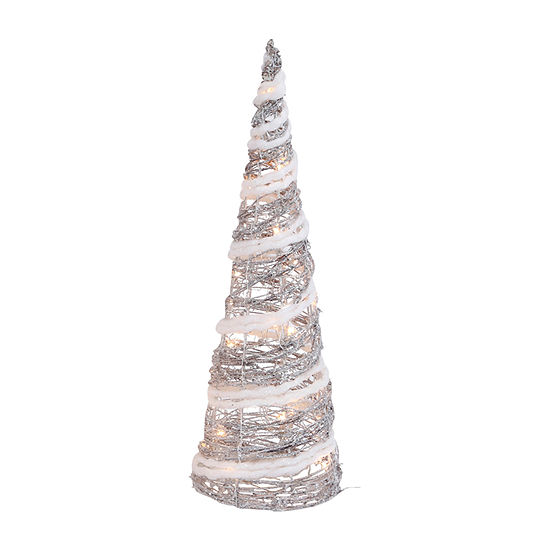 Snowy Day 24h Lighted Holiday Cone Tabletop Decor
