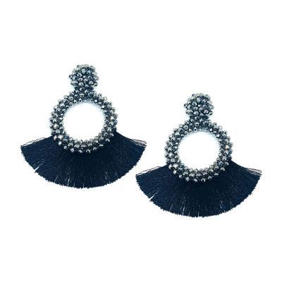 Bijoux Bar Black Round Drop Earrings